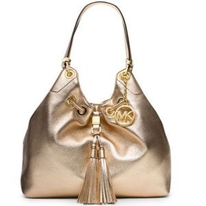 Michael Kors gold large drawstring leather tote